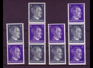 Dt. Reich Zusammendruck S 290-293 Adolf Hitler 4 Pf + 6 Pf postfrisch