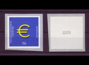 Bund 2236 SB Rollenmarke mit ungerader Nr. Euro Zeichen 56 C postfrisch