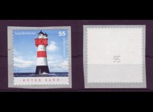 Bund 2413 SB Rollenmarke mit ungerader Nr. Leuchttürme (II) 55 C postfrisch