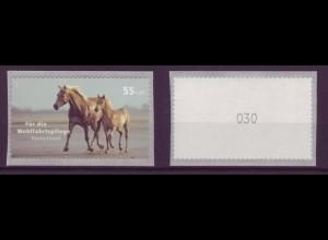 Bund 2635 Rollenmarke SB mit gerader Nr. Haustiere Pferde 55+25 C postfrisch
