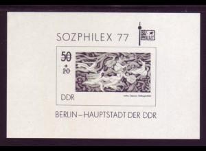 DDR Schwarzdruck Block 48s SOZPHILEX 1977