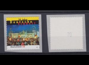 Bund 2822 SB Rollenmarke mit gerader Nr. 20 Jahre Deutsche Einheit 55 C **