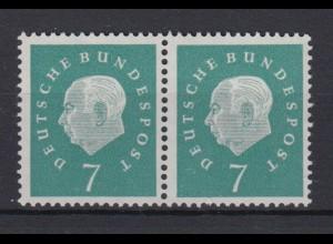 Bund 302 waagerechtes Paar Bundespräsident Theodor Heuss (III) 7 Pf postfrisch