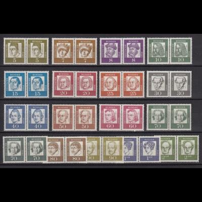 Bund 347y-362y waagerechte Paare Bedeutende Deutsche 17 Werte postfrisch