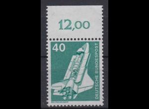 Bund 850 mit Oberrand alte Fluoreszenz Industrie+Technik (I) 40 Pf postfrisch