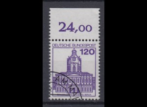 Bund 1141 mit Oberrand Burgen + Schlösser 120 Pf gestempelt