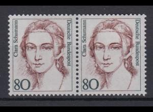 Bund 1305 Frauen der deutschen Geschichte (I) 80 Pf waagerechtes Paar postfrisch