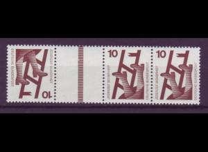 Bund 695 Zusammendruck KZ9 b Strichleiste braun Unfall 10/10/10 Pf postfrisch