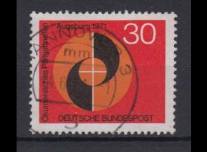 Bund 679 I mit Plattenfehler Ökumänisches Pfingstreffen 30 Pf gestempelt /2