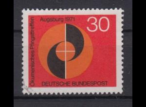 Bund 679 II mit Plattenfehler Ökumänisches Pfingstreffen 30 Pf gestempelt /2