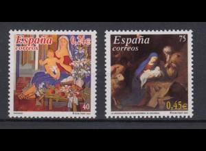 Spanien 3671-3672 Weihnachten gelbe Fluoreszenz dickes Papier postfrisch