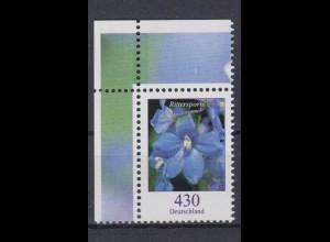 Bund 2435 Eckrand links oben Blumen Feldrittersporn 430 Cent postfrisch
