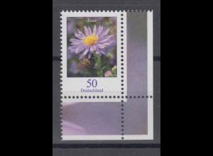 Bund 2463 Eckrand rechts unten Blumen Herbstaster 50 Cent postfrisch