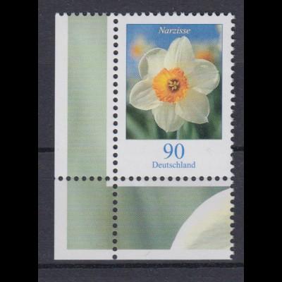 Bund 2506 Eckrand links unten Blumen Narzisse 90 Cent postfrisch