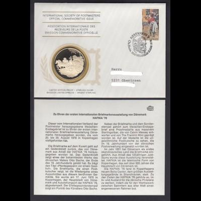 Medaillenbrief Dänemark Briefmarkenausstellung Hafnia 1976 mit Silbermedaille PP