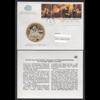 Medaillenbrief USA Jahrestag Unabhängigkeitserklärung 1976 mit Silbermedaille PP