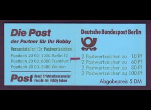 Berlin Markenheftchen 15 ZB SWK 1989 postfrisch