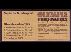 Bund Markenheftchen 17 Olympische Sommerspiele 1972 postfrisch