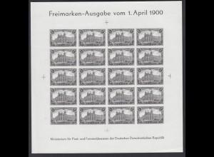 DDR Schwarzdruck SD 63 Bogen Reichspost XIX. Weltkongreß Hamburg 1984