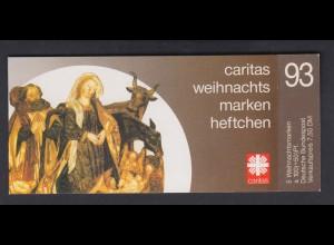 Bund Caritas Weihnachten Markenheftchen 5x 1708 100+ 50 Pf 1993 ** mit Plf. I