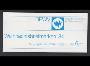 Bund Parität. Wohlfahrtsverband Markenheftchen 5x 1233 80+ 40 Pf 1984 postfrisch