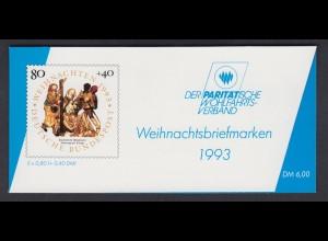 Bund Parität. Wohlfahrtsverband Markenheftchen 5x 1707 80+ 40 Pf 1993 postfrisch