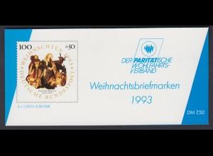 Bund Parität. Wohlfahrtsverband Markenhef. 5x 1708 100+ 50 Pf 1993 ** mit Plf. I