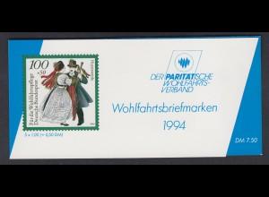 Bund Parität. Wohlfahrtsverband Markenheftchen 5x 1760 100+50 Pf 1994 postfrisch