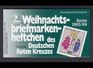 Bund Rotes Kreuz Weihnachten Markenheftchen 5x 1196 80+ 40 Pf 1983/84 postfrisch