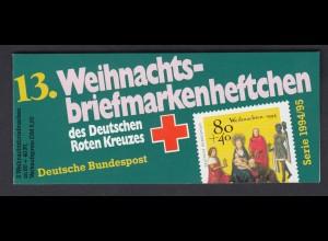 Bund Rotes Kreuz Weihnachten Markenheftchen 5x 1770 80+ 40 Pf 1994/95 postfrisch