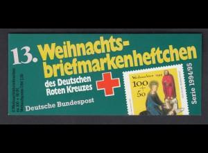 Bund Rotes Kreuz Weihnachten Markenheftchen 5x 1771 100+50 Pf 1994/95 postfrisch