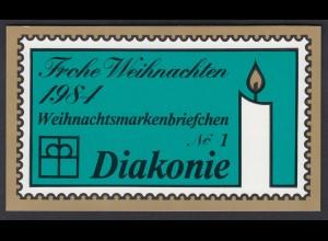 Bund Diakonie Weihnachten Markenheftchen 5x 1233 80+ 40 Pf 1984 postfrisch