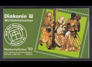 Bund Diakonie Weihnachten Markenheftchen 5x 1707 80+ 40 Pf 1993 postfrisch
