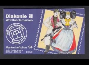 Bund Diakonie Wohlfahrt Markenheftchen 5x 1757 80+ 40 Pf 1994 postfrisch