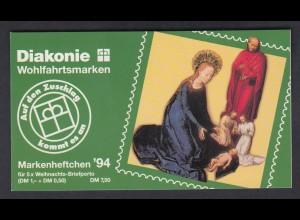 Bund Diakonie Weihnachten Markenheftchen 5x 1771 100+ 50 Pf 1994 postfrisch