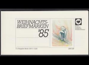 Berlin Parität. Wohlfahrtsverband Markenheftchen 5x 749 50+ 20 Pf 1985 **