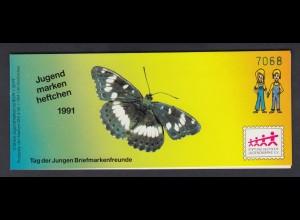 Bund Jugend Schmetterlinge Markenheftchen 5x 1514 60+ 30 Pf 1991 postfrisch