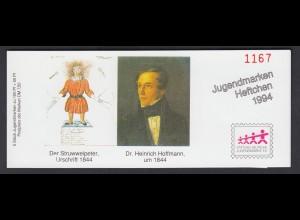 Bund Jugend Der Struwwelpeter Markenheftchen 5x 1728 100+ 50 Pf 1994 **