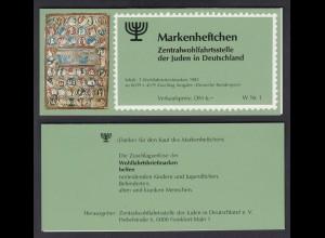 Bund ZWST der Juden Wohlfahrt Markenheftchen 5x 1261 80+ 40 Pf 1985 postfrisch