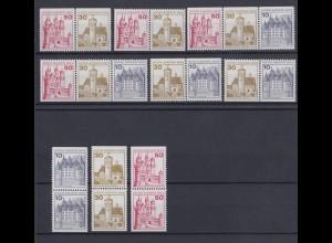 Berlin Zusammendrucke 9 verschiedene aus MH 10 ex 532-536 Burgen + Schlösser **