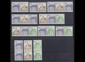 Berlin Zusammendrucke 11 verschiedene aus MH 11 ex 532-615 Burgen + Schlösser **