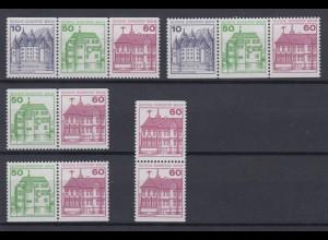 Berlin Zusammendrucke 5 verschiedene aus MH 12 ex 534-611 Burgen + Schlösser **