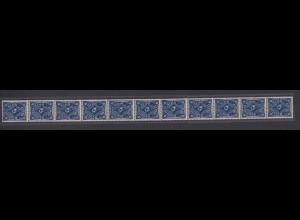 Dt. Reich 228 11er Streifen Posthorn 6 Mark einfarbig ungefaltet postfrisch