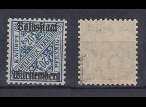 Württemberg Dienst 264c Einzelmarke gepr. Winkler postfrisch