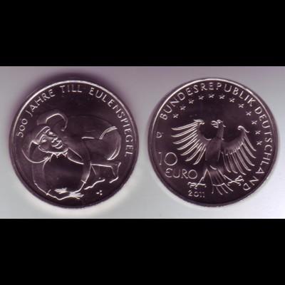 Gedenkmünze 10 Euro 2011 500 Jahre Till Eulenspiegel stempelglanz