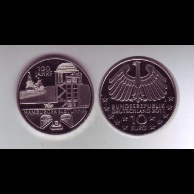 Gedenkmünze 10 Euro 2011 100 Jahre Hamburger Elbtunnel stempelglanz