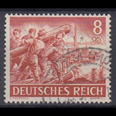 Deutsches Reich 835 Tag der Wehrmacht, Heldengedenktag 8+ 7 Pf gestempelt /2