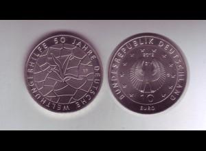 Gedenkmünze 10 Euro 2012 50 Jahre Welthungerhilfe stempelglanz