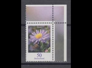 Bund 2463 Blumen (III) Herbstaster 0,50 € Eckrand rechts oben postfrisch
