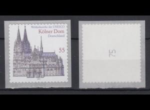 Bund 2330 Rollenmarke SB mit ungerader Nr. Kölner Dom 55 C postfrisch